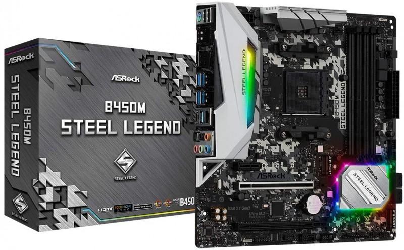 MOTHERBOARD AMD ASROCK B450M STEEL LEGEND