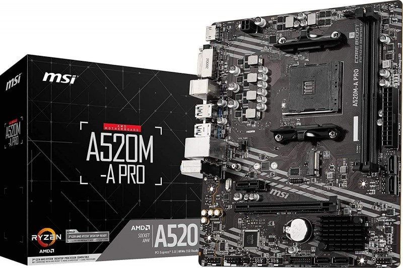 MOTHERBOARD AMDAM4 MSI A520M-A PRO